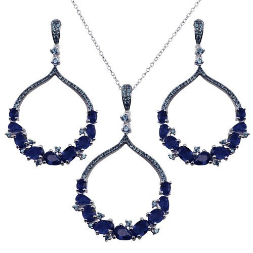 Wholesale Sterling Silver 925 Rhodium Plated Dangling Round Pendant with Blue CZ - BGS00568BLU