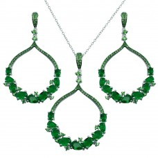 Wholesale Sterling Silver 925 Rhodium Plated Dangling Round Pendant with Green CZ - BGS00568GRN