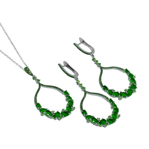 Wholesale Sterling Silver 925 Rhodium Plated Dangling Round Pendant Set with Green CZ - BGS00568GRN