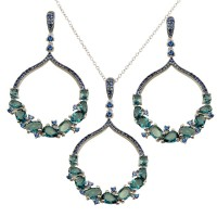 Wholesale Sterling Silver 925 Rhodium Plated Dangling Round Pendant with Teal Blue CZ - BGS00568LTBLU