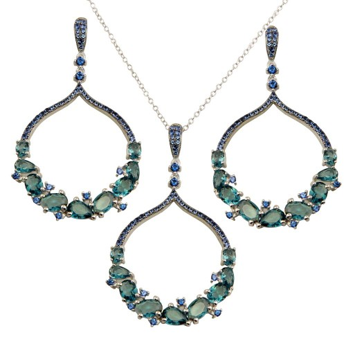 Wholesale Sterling Silver 925 Rhodium Plated Dangling Round Pendant Set with Teal Blue CZ - BGS00568LTBLU