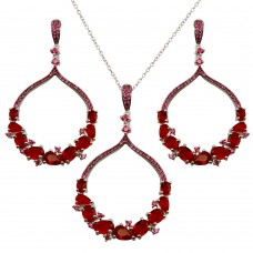 Wholesale Sterling Silver 925 Rhodium Plated Dangling Round Pendant with Red CZ - BGS00568RED