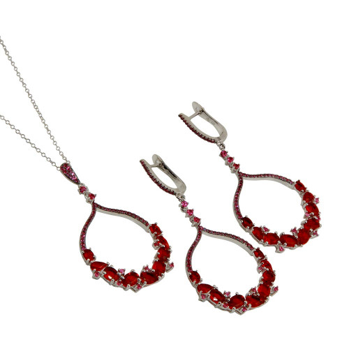 Wholesale Sterling Silver 925 Rhodium Plated Dangling Round Pendant Set with Red CZ - BGS00568RED