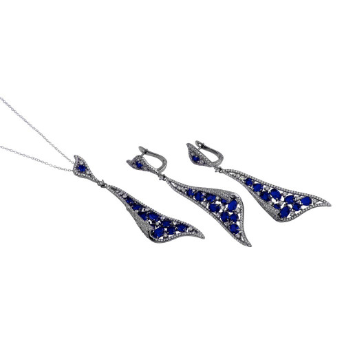 Wholesale Sterling Silver 925 Rhodium Plated Dangling Earrings and Necklace Set with Blue CZ - BGS00569BLU