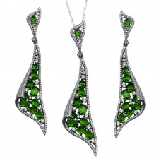 Wholesale Sterling Silver 925 Rhodium Plated Dangling Earrings and Necklace Set with Green CZ - BGS00569GRN