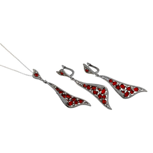 Wholesale Sterling Silver 925 Rhodium Plated Dangling Earrings and Necklace Set with Red CZ - BGS00569RED