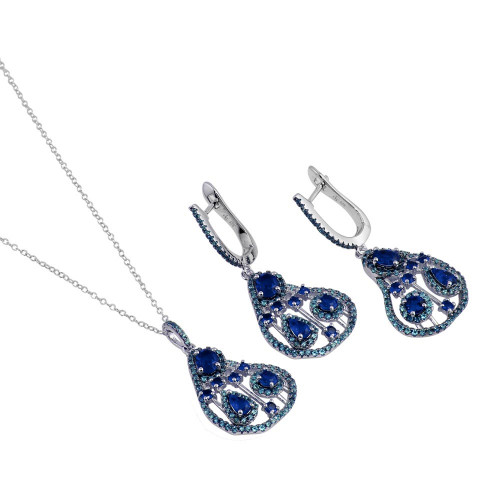 Wholesale Sterling Silver 925 Rhodium Plated Dangling Pear-Shaped Necklace and Earrings Set with Blue CZ - BGS00570BLU