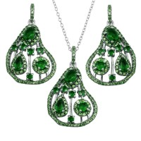 Wholesale Sterling Silver 925 Rhodium Plated Dangling Pear-Shaped Necklace and Earrings Set with Green CZ - BGS00570GRN