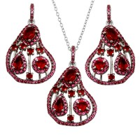 Wholesale Sterling Silver 925 Rhodium Plated Dangling Pear-Shaped Necklace and Earrings Set with Red CZ - BGS00570RED