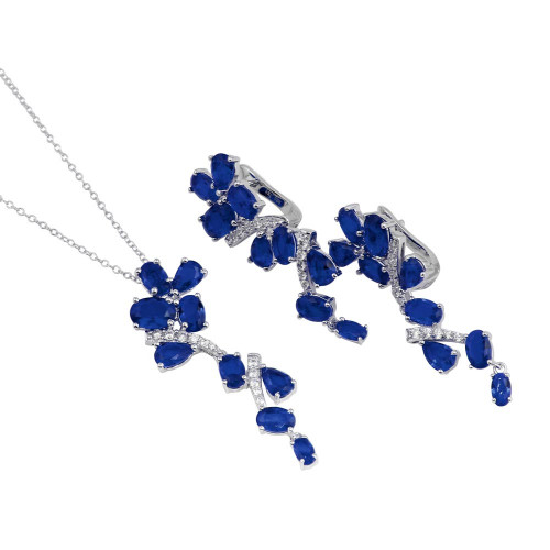 Wholesale Sterling Silver 925 Rhodium Plated Dangling Flower Necklace and Earrings Set with Blue CZ - BGS00571BLU