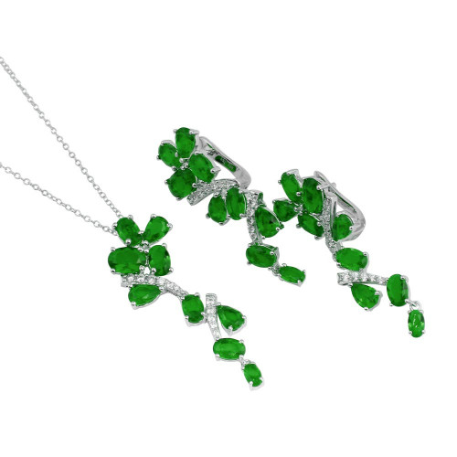Wholesale Sterling Silver 925 Rhodium Plated Dangling Flower Necklace and Earrings Set with Green CZ - BGS00571GRN