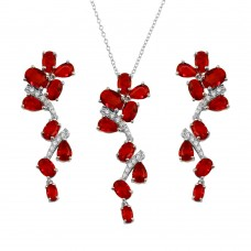 Wholesale Sterling Silver 925 Rhodium Plated Dangling Flower Necklace and Earrings Set with Red CZ - BGS00571RED