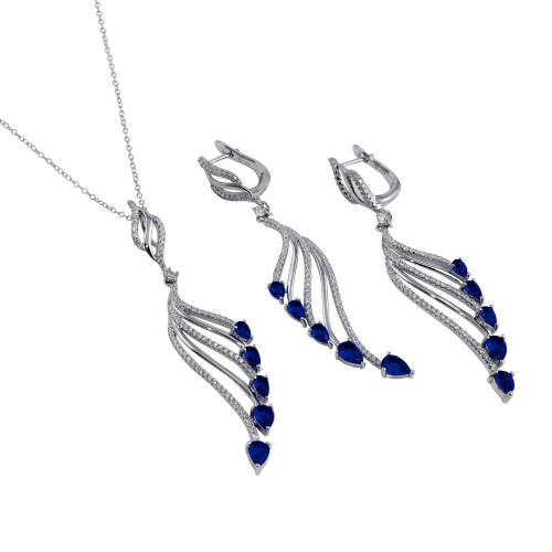 Wholesale Sterling Silver 925 Rhodium Plated Wing Necklace and Earrings Set with Blue CZ - BGS00572BLU