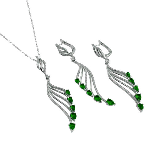 Wholesale Sterling Silver 925 Rhodium Plated Wing Necklace and Earrings Set with Green CZ - BGS00572GRN