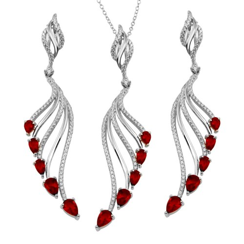 Wholesale Sterling Silver 925 Rhodium Plated Wing Necklace and Earrings Set with Red CZ - BGS00572RED