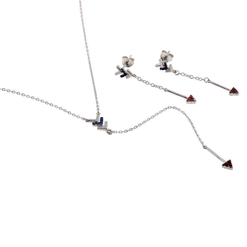 Wholesale Sterling Silver 925 Rhodium Plated Dangling Arrow Earrings and Necklace set with CZ - BGS00573