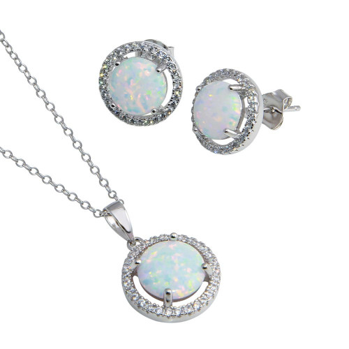 Wholesale Sterling Silver 925 Rhodium Plated Synthetic Opal Halo Set with CZ - BGS00575
