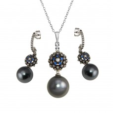 Wholesale Sterling Silver 925 Rhodium Plated Synthetic Black Pearl Necklace with CZ - BGS00576
