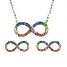 Wholesale Sterling Silver 925 Rhodium Plated Infinity Pendant Necklace and Stud Earrings Set with Rainbow CZ - BGS00577