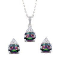 Wholesale Sterling Silver 925 Rhodium Plated Teardrop Synthetic Mystic Topaz CZ Set - BGS00578