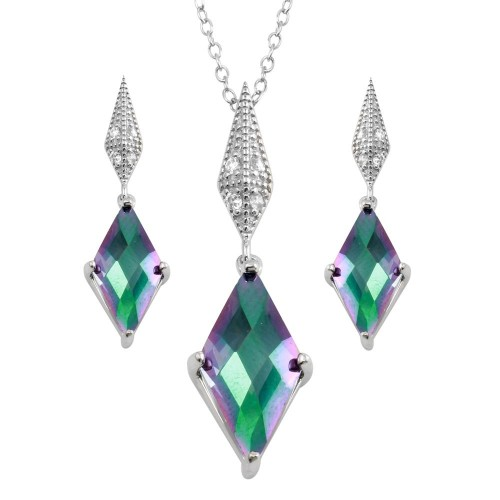 Wholesale Sterling Silver 925 Rhodium Plated Diamond Shape Synthetic Mystic Topaz CZ Set - BGS00579