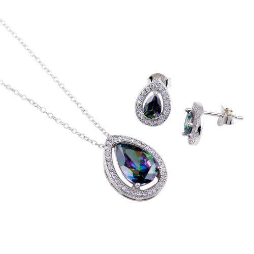 Wholesale Sterling Silver 925 Rhodium Plated Halo Teardrop Synthetic Mystic Topaz CZ Set - BGS00580