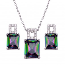 Wholesale Sterling Silver 925 Rhodium Plated Rectangle Synthetic Mystic Topaz CZ Set - BGS00581