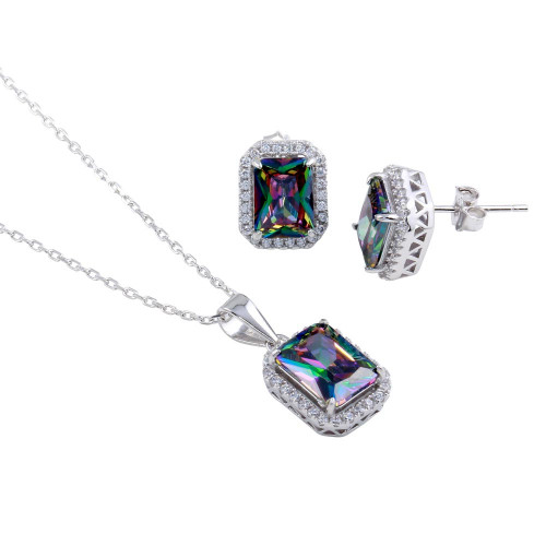 Wholesale Sterling Silver 925 Rhodium Plated Halo Rectangle Synthetic Mystic Topaz CZ Set - BGS00582