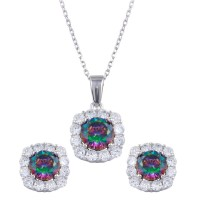 Wholesale Sterling Silver 925 Rhodium Plated Halo Synthetic Mystic Topaz CZ Set - BGS00583