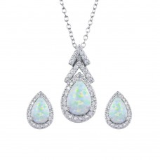 Wholesale Sterling Silver 925 Rhodium Plated Synthetic Opal Teardrop CZ Set - BGS00584