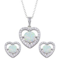 Wholesale Sterling Silver 925 Rhodium Plated Synthetic Opal Heart CZ Set - BGS00585