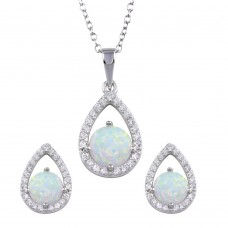 Wholesale Sterling Silver 925 Rhodium Plated Synthetic Opal Open Teardrop CZ Set - BGS00586