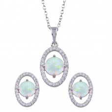 Wholesale Sterling Silver 925 Rhodium Plated Synthetic Opal Center Open Oval CZ Set - BGS00587