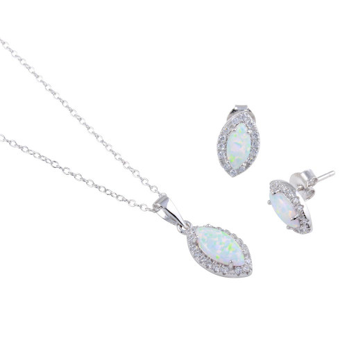 Wholesale Sterling Silver 925 Rhodium Plated Synthetic Opal Center Marquise Shape CZ Set - BGS00588