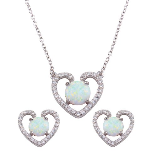 Wholesale Sterling Silver 925 Rhodium Plated Synthetic Opal Open Heart CZ Set - BGS00589