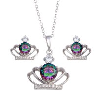 Wholesale Sterling Silver 925 Rhodium Plated Crown Synthetic Mystic Topaz CZ Set - BGS00591