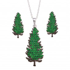 Wholesale Sterling Silver 925 Rhodium Plated Christmas Tree Set - BGS00593