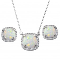 Wholesale Sterling Silver 925 Rhodium Plated Square Synthetic Opal  Halo Set with CZ - BGS00594