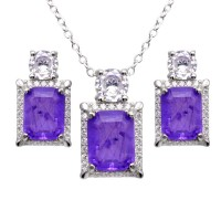 Wholesale Sterling Silver 925 Rhodium Plated Rectangle Purple Halo CZ Set - BGS00595