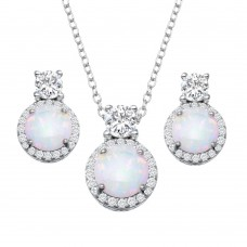 Wholesale Sterling Silver 925 Rhodium Plated Round Synthetic Opal  Halo Set with CZ - BGS00596