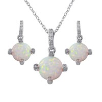 Wholesale Sterling Silver 925 Rhodium Plated Round Synthetic Opal  4 Corner CZ Set - BGS00597