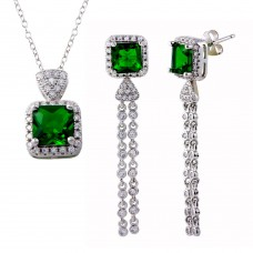 Wholesale Sterling Silver 925 Rhodium Plated Rectangle Green Halo Dangling CZ Set - BGS00598