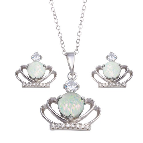 Wholesale Sterling Silver 925 Rhodium Plated Crown Synthetic Opal CZ Set - BGS00599