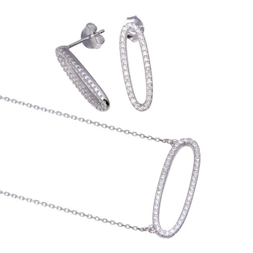 Wholesale Sterling Silver 925 Rhodium Plated Open Oval CZ Set - BGS00600
