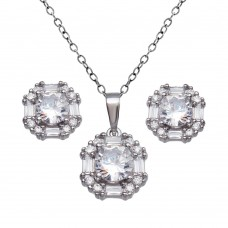 Wholesale Sterling Silver 925 Rhodium Plated Halo Set - BGS00601