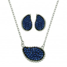 Wholesale Sterling Silver 925 Rhodium Plated Blue CZ Encrusted Teardrop Set - BGS00605BLU