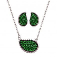 Wholesale Sterling Silver 925 Rhodium Plated Green CZ Encrusted Teardrop Set - BGS00605GRN