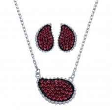 Wholesale Sterling Silver 925 Rhodium Plated Red CZ Encrusted Teardrop Set - BGS00605RED