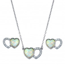 Wholesale Sterling Silver 925 Rhodium Plated Heart Set with Clear CZ Stones- BGS00607