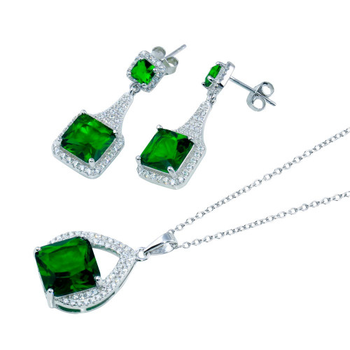 Wholesale Sterling Silver 925 Rhodium Plated Teardrop Pendant Square Earring Green CZ Set - BGS00608